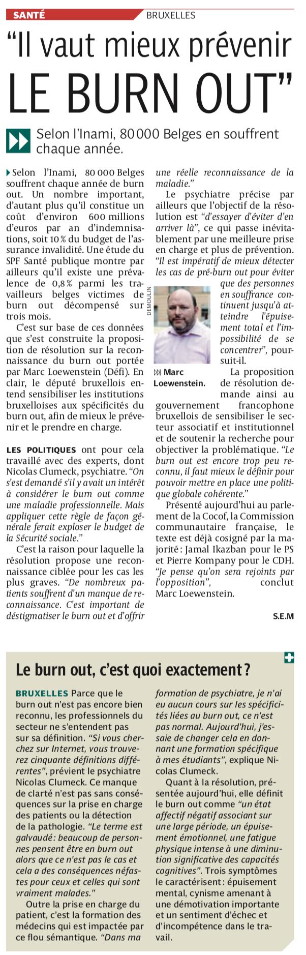 Article, la Dernière Heure, 15/03/2019