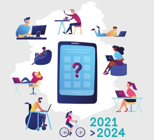 Visuel régional du Plan d'appropriation numérique (pictos reprenant smartphones, portables...)