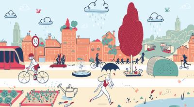 Visuel de Bruxelles Mobilité reprenant en dessin les différents modes de transport